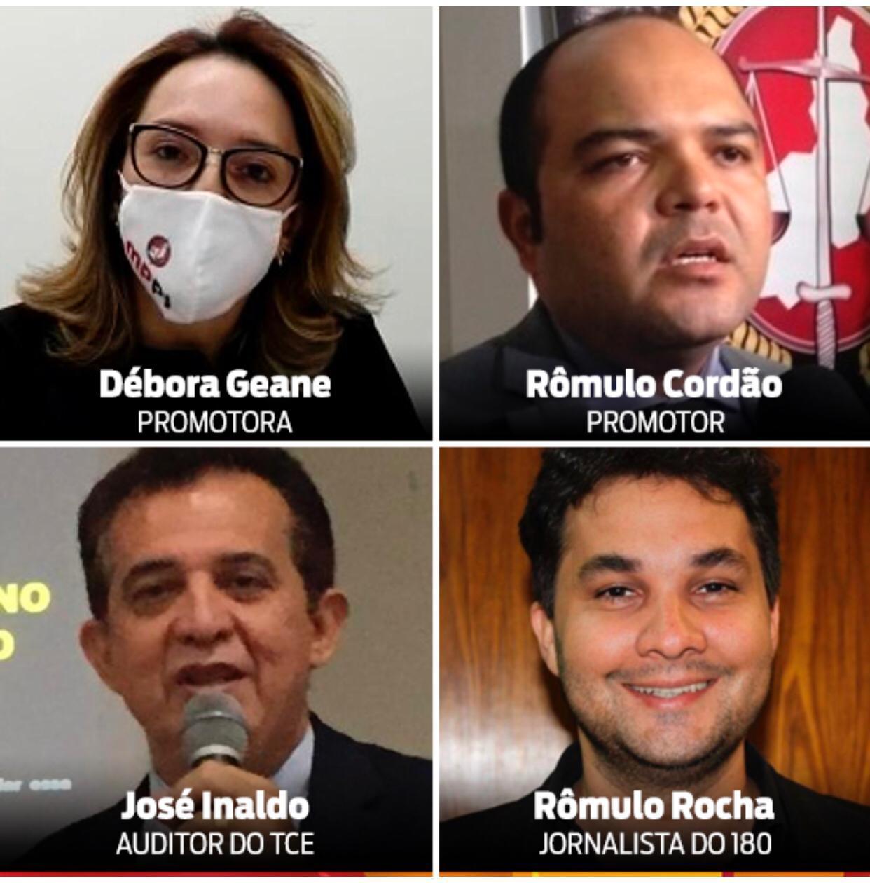 _Em sentido Horário, Débora Geane, Rômulo Cordão, Rômulo Rocha e José Inaldo (Imagens: Divulgação, Reprodução)