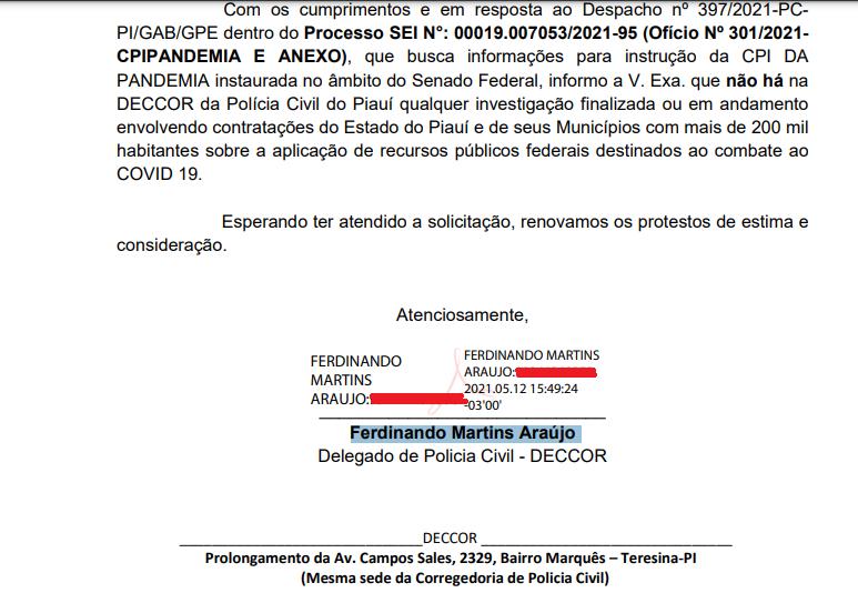 _ Um dos ofícios encaminhados à CPI: (Imagem: Reprodução)