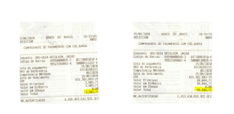 _Comprovante de ressarcimento de valores à Câmara Federal, feito por Emanuela Ferraz (Imagem: Reprodução de Autos)