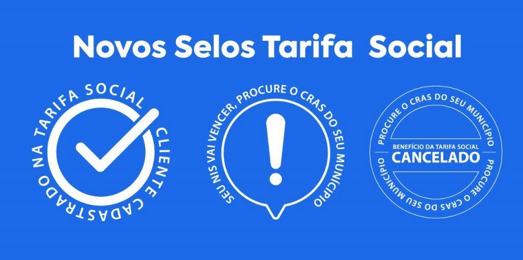 Exemplos dos Selos identificadores do Status do Cadastros do cliente na Tarifa Social