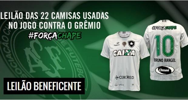 4b10306e21f31 Botafogo fará leilão de camisas em homenagem a Chapecoense