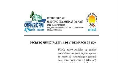 Thumb decreto municipal n 18 2020 medidas de prote o ao corona virus 1  1 p gina 1