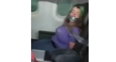Thumb mulher presa com fita