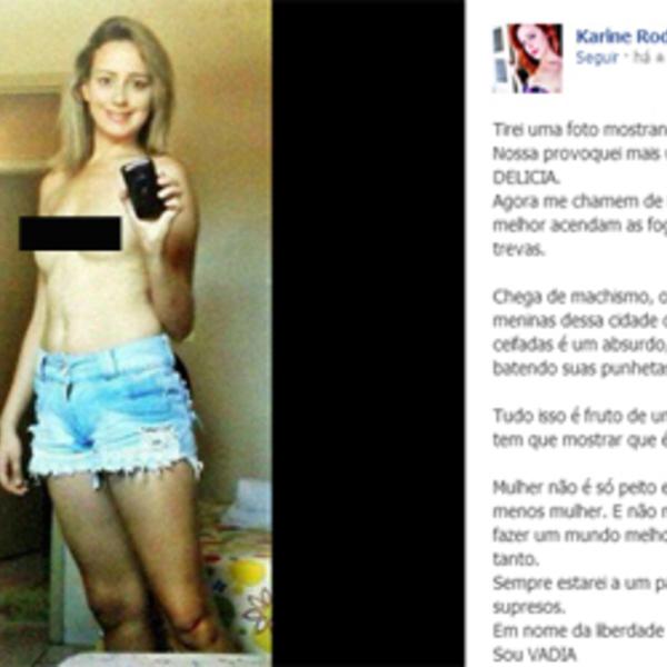 Jovem tira roupa em protesto contra a divulgação de fotos